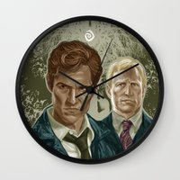 true detective Wall Clocks featuring True Detective I by Valentina Testa