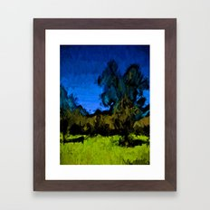 Gold Trees in the Blue Wind Framed Art Print