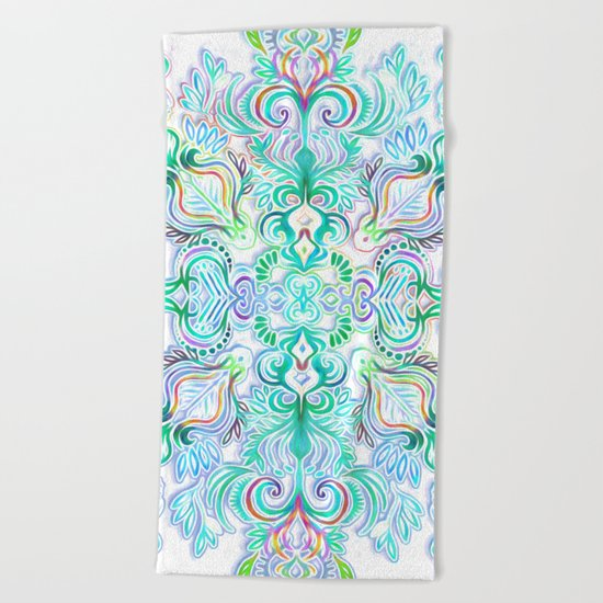 Painted Rainbow Doodles Beach Towel