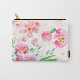 pink flowers and green leaf pattern  Carry-All Pouch