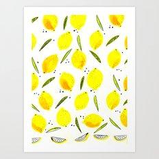 yellow lemon Art Print