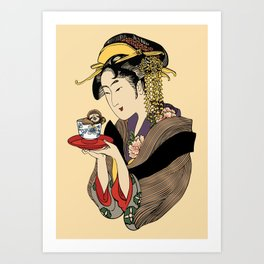 Tea Time with Sloth Art Print