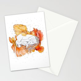 Cat and Golden Fishes Stationery Cards