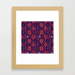 Lotus flower - fire on mulberry woodblock print style pattern Framed Art Print