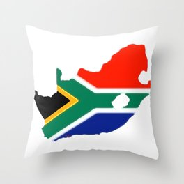 South Africa Map with South African Flag Throw Pillow