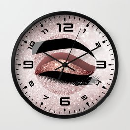 Rose gold Lashes Eye Wall Clock