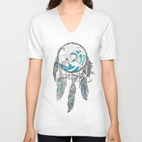 dream catcher V-neck T-shirts featuring Dream Catcher by Huebucket