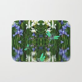 TURQUOISE DRAGONFLIES IRIS WATER REFLECTIONS Bath Mat