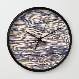 Writer's Block - wavy indigo / navy lines Wall Clock