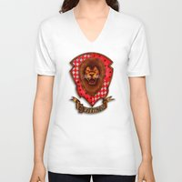 gryffindor V-neck T-shirts featuring Gryffindor shield emblem by JanaProject