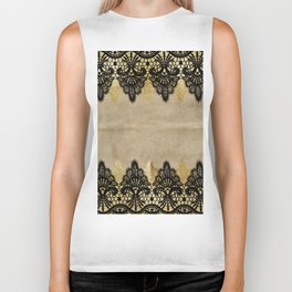 Elegance- Ornament black and gold lace on grunge paper backround Biker Tank