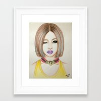 2ne1 Framed Art Prints featuring Minzy Gong (2NE1) by Hileeery