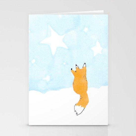 Starry night fox Stationery Cards