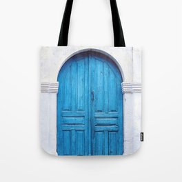 Vibrant Blue Greek Door to Whitewashed Home in Crete, Greece Tote Bag