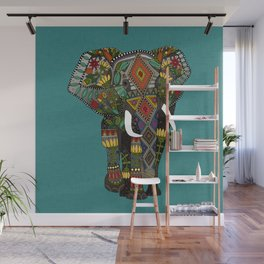floral elephant teal Wall Mural