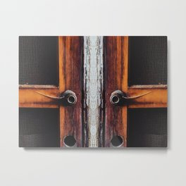 two old brown doors texture background Metal Print