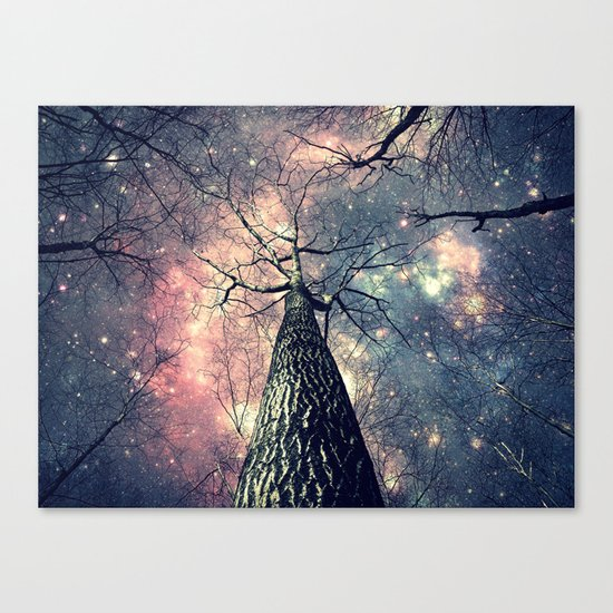 Wintry Trees Galaxy Skies Canvas Print