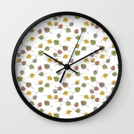 Colorado Aspen Tree Leaves Hand-painted Watercolors in Golden Autumn Shades on Clear Wall Clock