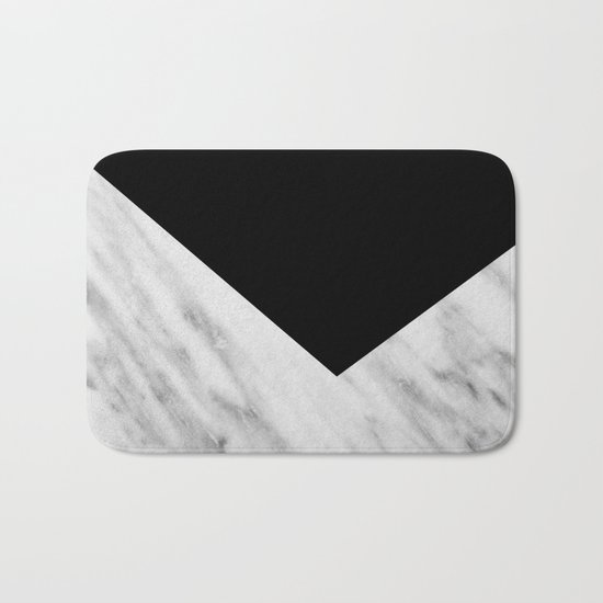 Black Marble Collage Bath Mat