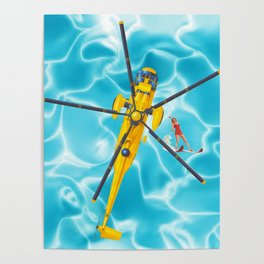 westland yellow helicopter w-surfer Poster