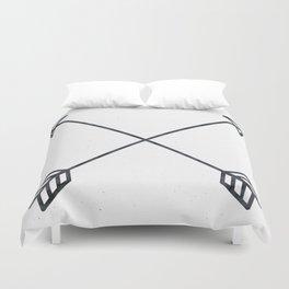 Black Arrows on White Paper Duvet Cover