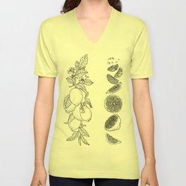 Citrus Branch of Lemons and Slices of Fruit Unisex V-Neck