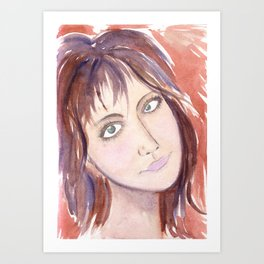 Portrait of a girl with green eyes and brown hair Art Print
