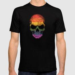 Dark Skull with Gay Pride Rainbow Flag T-shirt