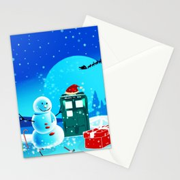 Tardis With Snow Ball Gift Christmas Stationery Cards