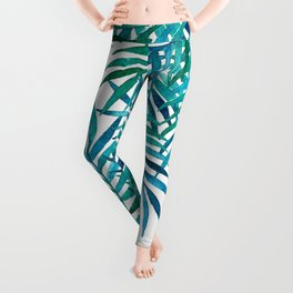 Watercolor Palm Leaves on White Leggings