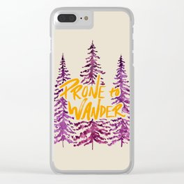 Prone to Wander - Gold and Purple Clear iPhone Case
