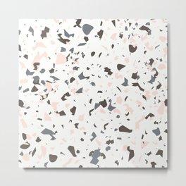 Multi-Colored Terrazzo Pattern - Pink, Brown, Cream, Gray Metal Print