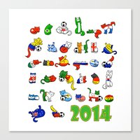 world cup Canvas Prints featuring WORLD CUP KITTEHS 2014 by Helenasia