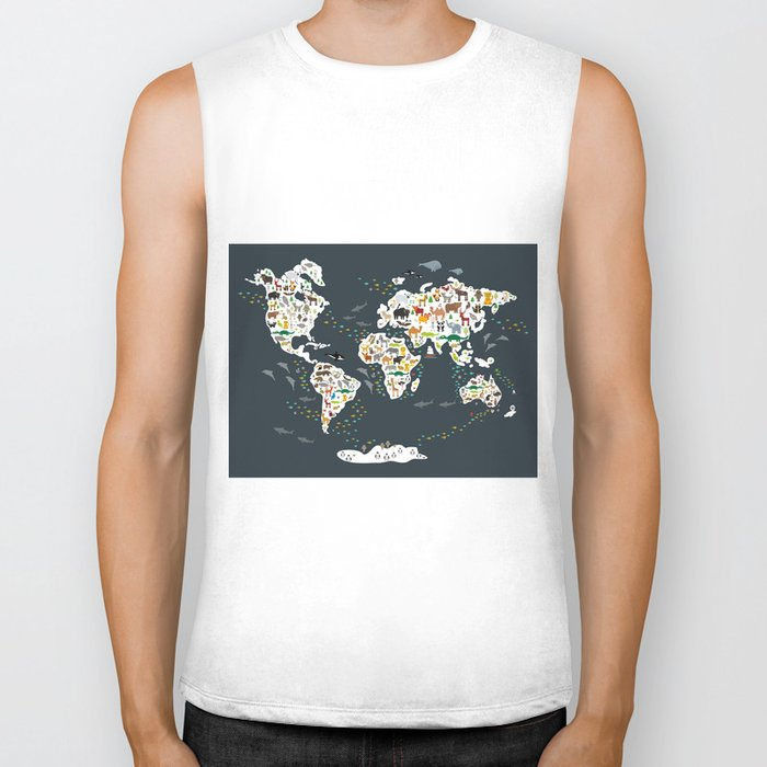 Cartoon animal world map for kids, back to schhool. Animals from all over the world Biker Tank
