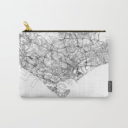 Singapore White Map Carry-All Pouch