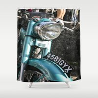 moto Shower Curtains featuring Vintage moto by Johanna Arias