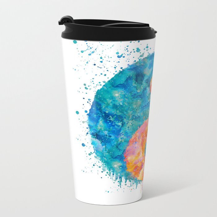 yin and Yang Symbol Watercolor painting Metal Travel Mug