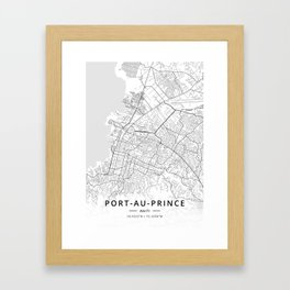 Port-au-Prince, Haiti - Light Map Framed Art Print