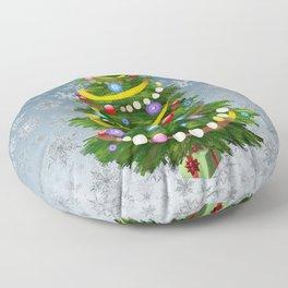 Christmas tree & snow Floor Pillow