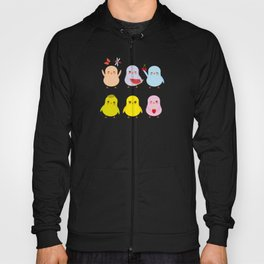 Kawaii blue green orange pink yellow chick with pink cheeks and winking eyes, pastel colors Hoody