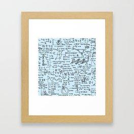 Physics Equations // Baby Blue Framed Art Print