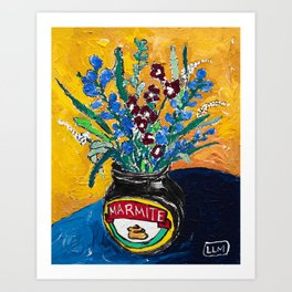 Wildflower Bouquet in Marmite Jar on Yellow and Blue Art Print