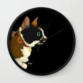 My cat in the dark Wall Clock