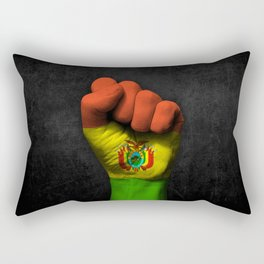 Bolivian Flag on a Raised Clenched Fist Rectangular Pillow