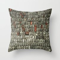 letters Throw Pillows featuring Letters by Sébastien BOUVIER
