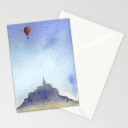 Mt St Michel and red baloons Stationery Cards