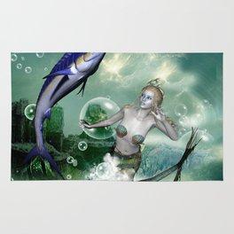 Marlin with mermaid Rug