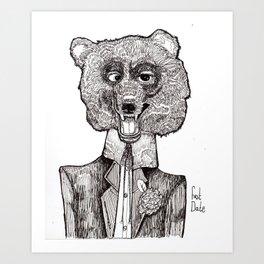 Bear's First Date Art Print