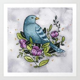 Bluebird - Watercolor and gouache illustration Art Print