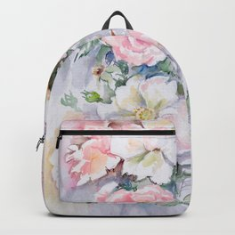 White Wild Roses Watercolor painting White Pink Rose Flower Bouquet Wedding decor Backpack